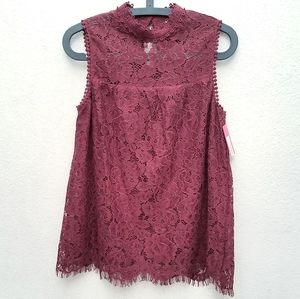 NWT Burgundy Floral Lace Design Sleeveless Blouse